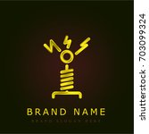 tesla coil golden metallic logo