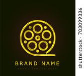 film strip golden metallic logo