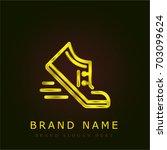 runner golden metallic logo
