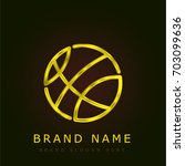 basketball golden metallic logo