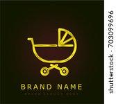 baby stroller golden metallic...