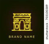 arc de triomphe golden metallic ... | Shutterstock .eps vector #703100389