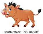 Stock vector vector illustration of wild boar cartoon 703100989