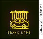 car wash golden metallic logo