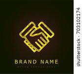 handshake golden metallic logo