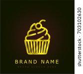 cupcake golden metallic logo