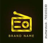 radio golden metallic logo