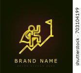 success golden metallic logo