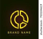 pie chart golden metallic logo