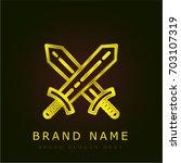 swords golden metallic logo