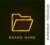 folder golden metallic logo | Shutterstock .eps vector #703112116