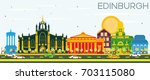 edinburgh scotland skyline with ... | Shutterstock . vector #703115080