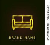 sofa golden metallic logo