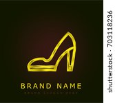 high heels golden metallic logo