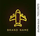 airplane golden metallic logo