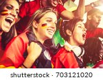 female supporters from... | Shutterstock . vector #703121020