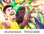 brazilian supporters at the... | Shutterstock . vector #703121068