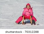 girl on the sled - stock photo