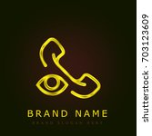 phone call golden metallic logo