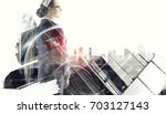 businesswoman against city... | Shutterstock . vector #703127143