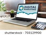 digital marketing new startup... | Shutterstock . vector #703129900