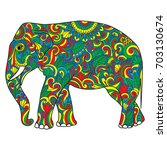 vintage elephant with tribal...   Shutterstock .eps vector #703130674