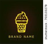 ice cream golden metallic logo