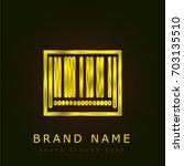 barcode golden metallic logo