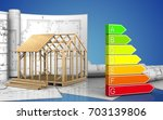 3d illustration of frame house... | Shutterstock . vector #703139806