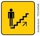 stairs sign up yellow. vector. | Shutterstock .eps vector #703140568