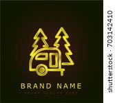 camping golden metallic logo