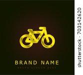 bike golden metallic logo