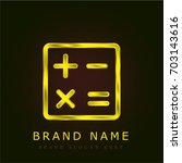 mathematics golden metallic logo