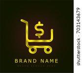 shopping cart golden metallic...
