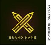 pencils golden metallic logo