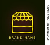 store golden metallic logo