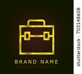 briefcase golden metallic logo