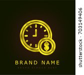 time golden metallic logo