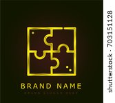 puzzle golden metallic logo