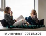 happy teenage daughter along... | Shutterstock . vector #703151608