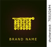 knitting golden metallic logo