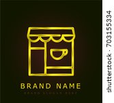coffee shop golden metallic logo