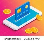 transfer illustration. nfc... | Shutterstock .eps vector #703155790