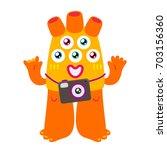cartoon monster  vector... | Shutterstock .eps vector #703156360