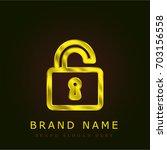 open lock golden metallic logo
