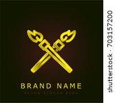 fire gear golden metallic logo