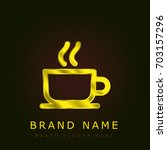 coffee cup golden metallic logo