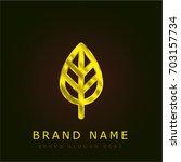 tree leaf golden metallic logo