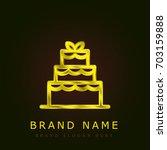 wedding cake golden metallic...