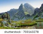 mountain lake in retezat... | Shutterstock . vector #703163278